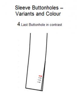 C41, C42.4 Last buttonhole in contrast